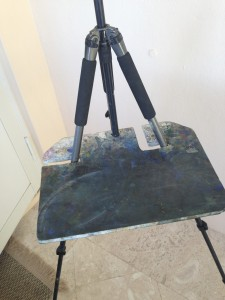 Home made tripod support board, front view