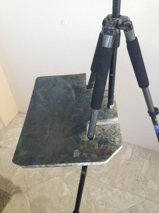 Home made tripod support board, side view