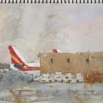watercolor painting from 834 on JFK airport