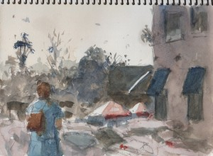 watercolor sketch from a coffee house in Oakland