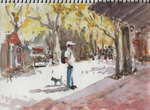 watercolor painting street in Columbia California