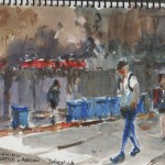 Shattuck avenue, watercolour, early morning street view