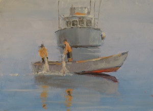 "Setting the nets, Casein  10""x 8"" SOLD"