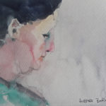 watercolor profile head