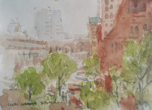 watercolor view from Legal Seafood in Boston