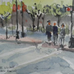 watercolor painting of Kenmore square in Boston