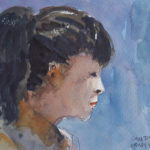 watercolour portrait profile