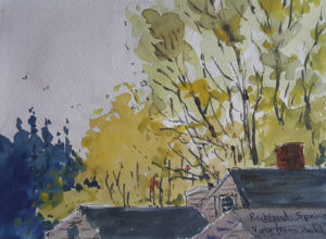 watercolor spring scene in maine